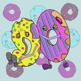 动画片油炸圈饼逗人喜爱的颜色 库存图片