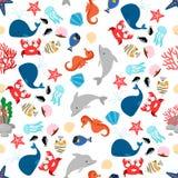 动画片海洋动物无缝的样式 向量例证