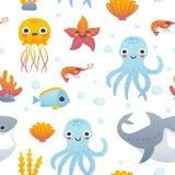 动画片海洋动物样式 库存图片