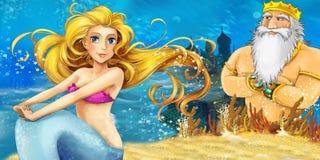 动画片海洋和美人鱼 免版税库存照片
