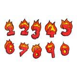 动画片灼烧的数字 免版税库存照片