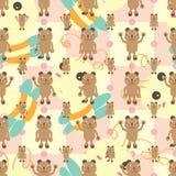 动画片熊对称蜂无缝的样式 库存图片