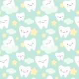 动画片牙逗人喜爱的五颜六色的无缝的样式背景例证 库存照片