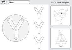 动画片牦牛和游艇 字母表追踪的活页练习题:文字A-Z a 库存图片