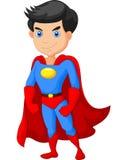 动画片特级英雄男孩摆在 免版税图库摄影