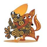 动画片狐狸拥抱乌鸦 免版税库存照片