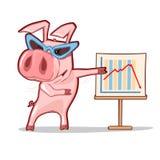 动画片猪佩带的玻璃 免版税库存照片