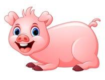 动画片猪放下 免版税库存图片
