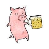 动画片猪用啤酒 库存图片