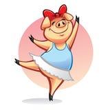 动画片猪芭蕾舞女演员 图库摄影