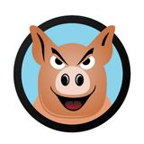 动画片猪头传染媒介商标 库存照片