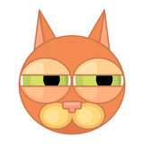 动画片猫与狭窄的眼睛的面孔象 情感象,怀疑 皇族释放例证