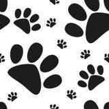 动画片猫爪子无缝的样式,动物脚印,传染媒介 免版税库存图片