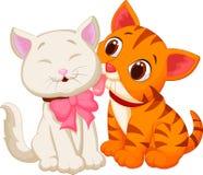 动画片猫舔 库存照片