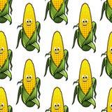 动画片玉米棒子的无缝的样式 免版税图库摄影