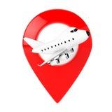 动画片玩具有红色地图目标Pin的喷气机飞机 3d翻译 免版税库存图片