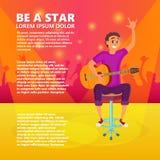 动画片电吉他球员 少年吉他弹奏者显示手  拿着吉他的年轻人的传染媒介例证 免版税库存照片
