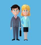 动画片男人和妇女企业工作合作 皇族释放例证