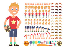 动画片男孩字符 导航用不同的情感和身体局部的创作建设者 向量例证
