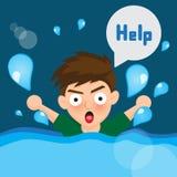 动画片男孩被淹没 免版税图库摄影