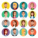 动画片男性和女性面孔汇集 传染媒介象套五颜六色的人民现代平的设计 具体化字符人妇女 库存照片