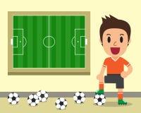 动画片男性足球运动员和足球场模板 图库摄影