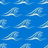 动画片白色海浪无缝的样式 库存例证