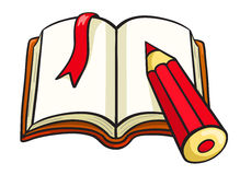 动画片笔记本和红色铅笔 库存图片