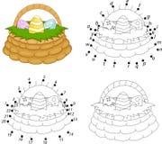 动画片篮子用复活节彩蛋 加点ga的彩图和小点 库存照片