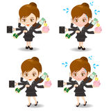 动画片繁忙例证的女实业家 免版税图库摄影