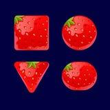 动画片红色按钮,比赛ui发展的草莓成套工具 库存图片