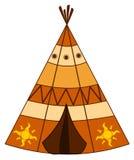 动画片美洲印第安人圆锥形帐蓬例证 免版税库存图片