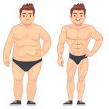 动画片肌肉和肥胖人,在体育前后的人 减重和饮食传染媒介生活方式概念 免版税库存照片