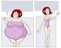 动画片肥胖亭亭玉立的例证。 免版税库存照片