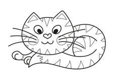 动画片肥满全部赌注,逗人喜爱的镶边猫,上色 库存照片