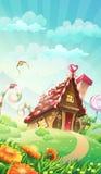 动画片草甸的糖果房子-导航例证 免版税库存照片