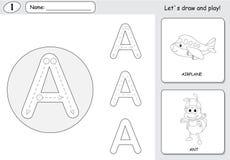 动画片蚂蚁和航空器 字母表追踪的活页练习题:写A 免版税库存照片