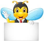 动画片蜂举行空白标志 免版税图库摄影