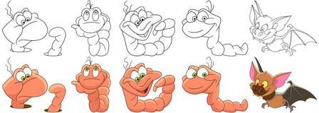动画片蠕虫和棒集合 皇族释放例证