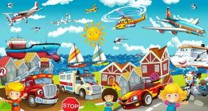 动画片街道-孩子的例证 免版税图库摄影