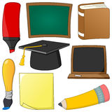 动画片被设置的学校用品对象 免版税图库摄影