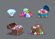动画片被设置的宝石象 向量例证