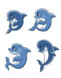 动画片被设置的海豚小牛 免版税库存图片