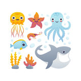 动画片被设置的海洋动物 库存图片