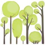 动画片被设置的水彩树 免版税库存照片