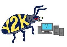 动画片计算机2000年问题千年臭虫 图库摄影