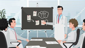 动画片诊所/人医生在会议上 股票录像