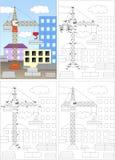 动画片起重机 加点孩子的比赛的彩图和小点 向量例证