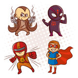 动画片超级英雄字符贴纸 免版税库存照片