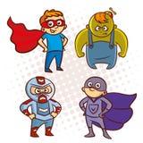 动画片超级英雄字符贴纸 库存图片